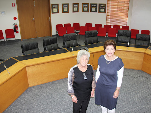 Narrabri Shire Mayor Cathy Redding and fellow organiser Jocellin Jansson want the Narrabri Shire Council chambers pictured here behind them to be standing room only next Monday evening as a meeting is held to discuss the possibility of a Country University Centre in the town.