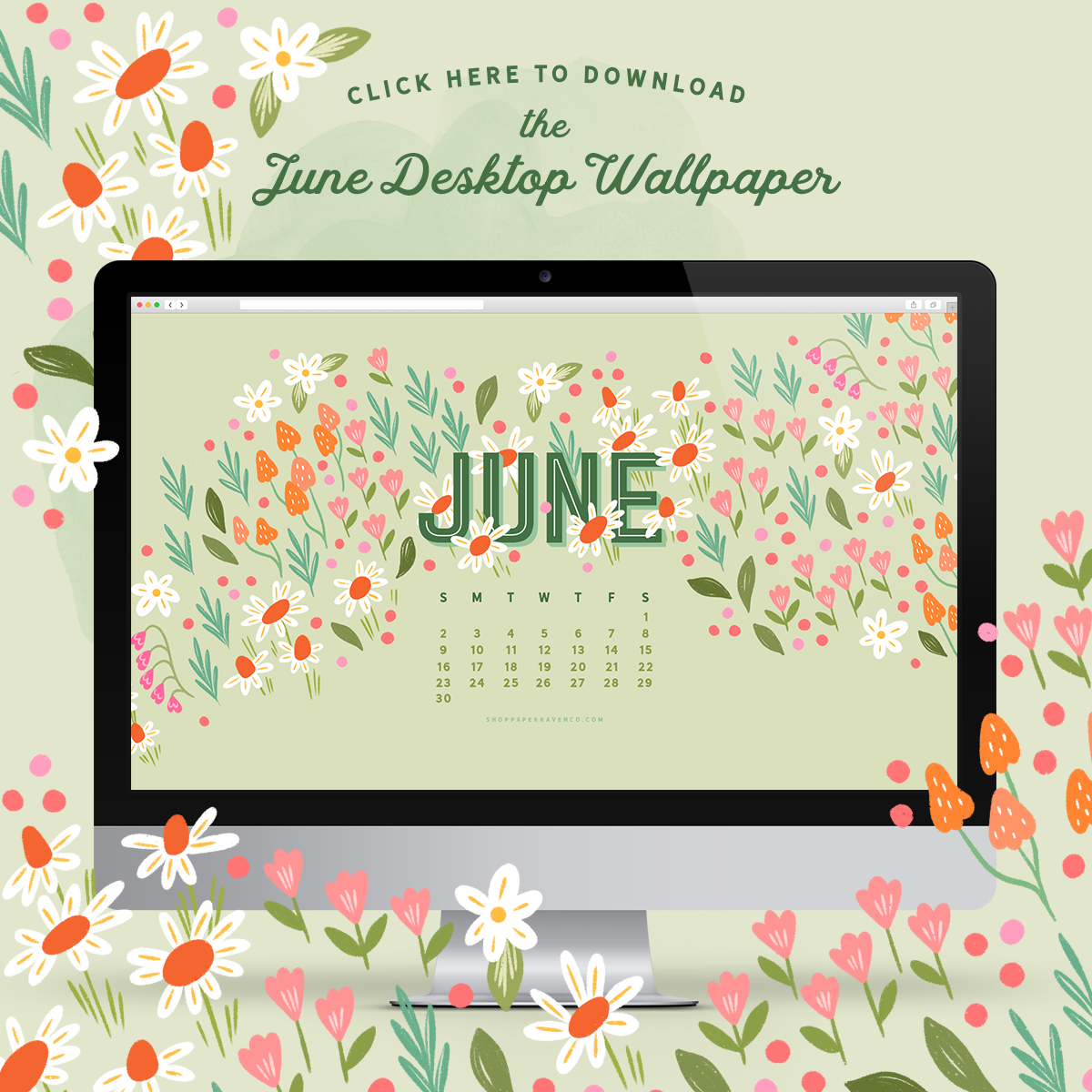 June 2019 Illustrated Desktop Wallpaper by Paper Raven Co.  - www.ShopPaperRavenCo.com #dressyourtech #desktopwallpaper #desktopcalendar