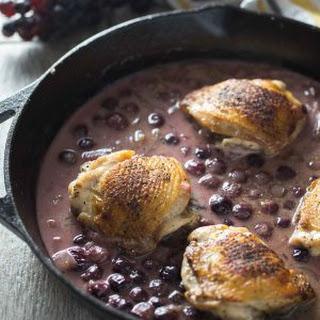 Chicken Thighs Braised in Mustard Grape Sauce.
