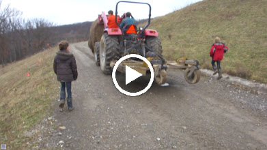 Video: 1,800 lbs hay bale toss down hill to herd