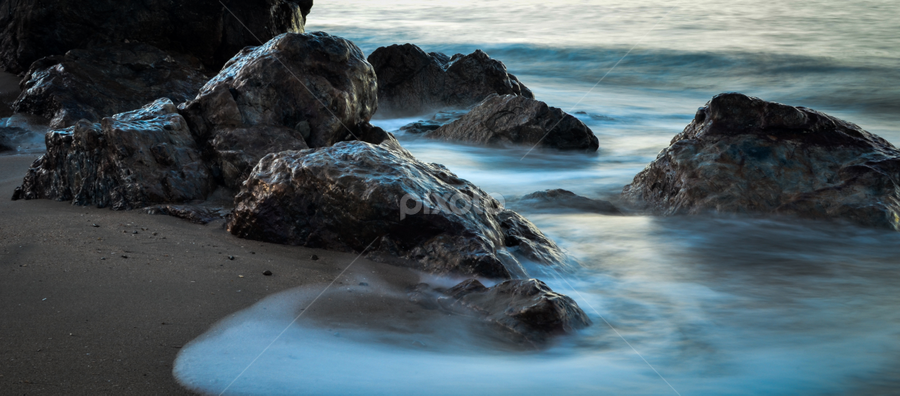 Quiet Rocks by Alex Hunt - Landscapes Waterscapes ( blue, waves, ocean, beach, rocks )