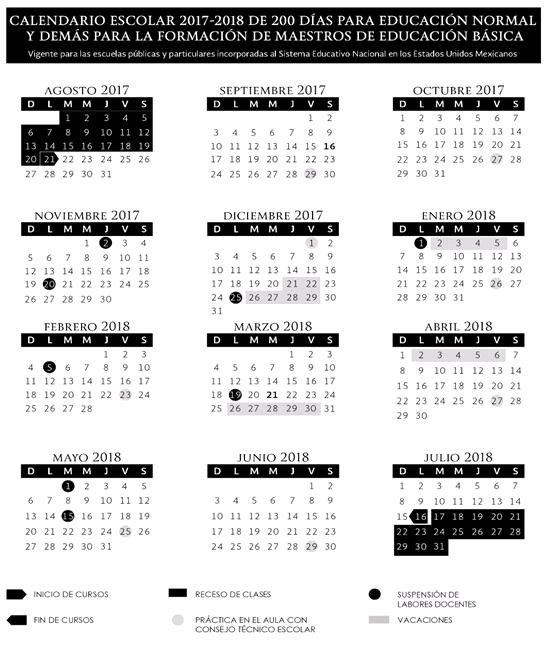 Calendario SEP 200 días, Ciclo escolar 2017-2018