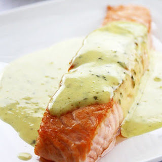 Grilled Salmon with Mint & Basil Sauce.