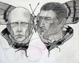 """Photo: The Butterfly Men, underdrawing (in-process), ©BrendaClews, 16"""" x 20"""", charcoal fixed with Golden's sizer, Gak 100, on 1.5"""" stretched gallery canvas. Two more butterflies are coming."""