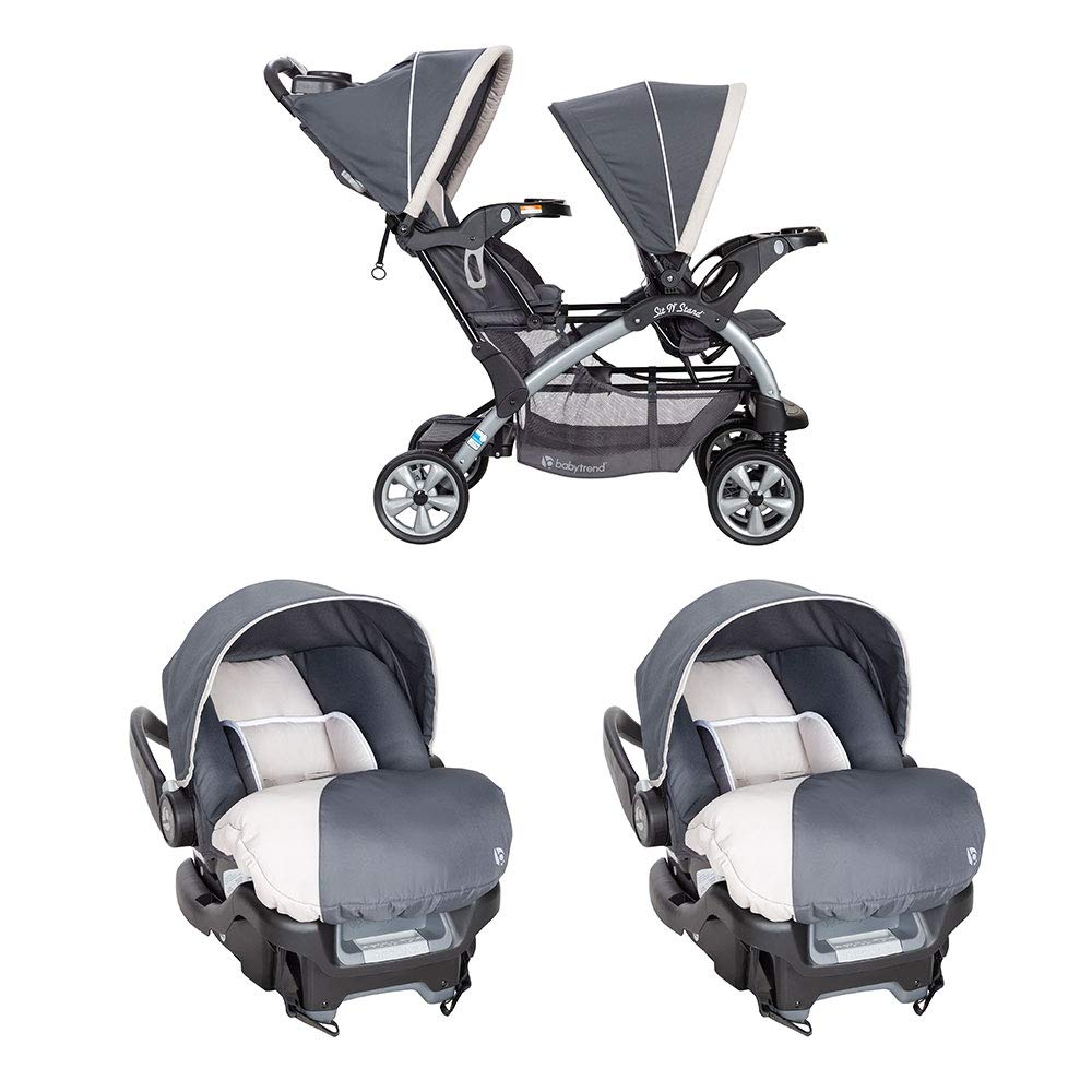 Baby Trend Double Stroller and Car Seats