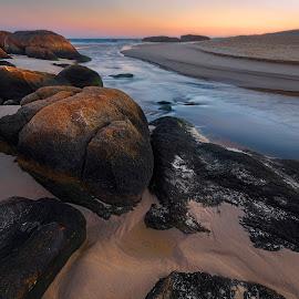 Glow On The Rocks by Geoffrey Wols - Landscapes Beaches ( water, stream, south west rocks, dawn, creek, beach, sunrise, rocks,  )
