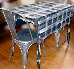 Photo: PAINTED DROP-LEAF W/ALUMINUM CHAIRS: SOLD