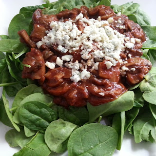 Warm Spinach Salad with Sauteed Mushrooms, Red Onion and Blue Cheese