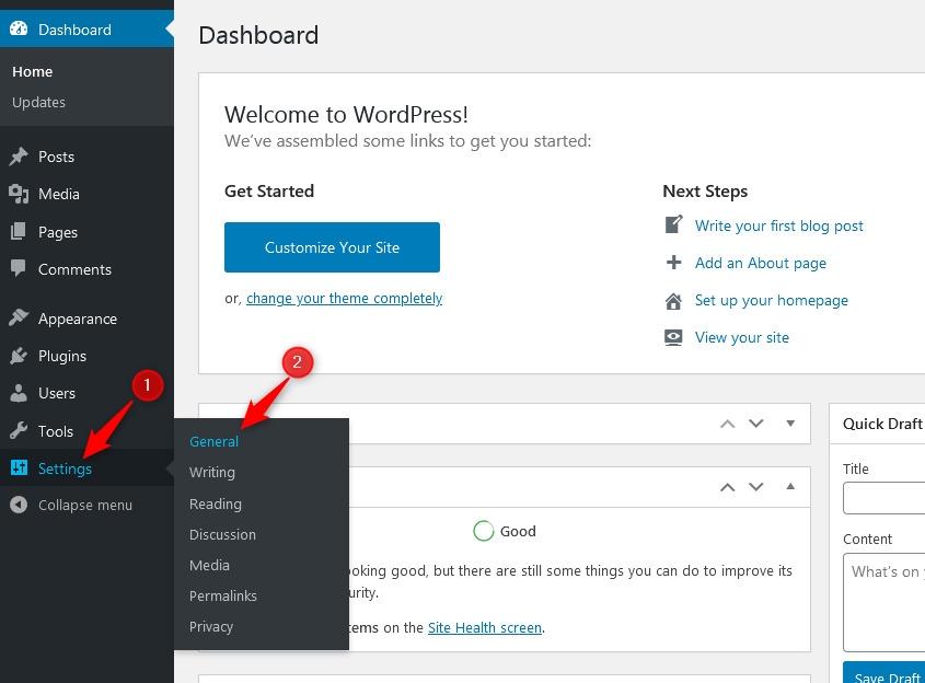 access general settings in WordPress