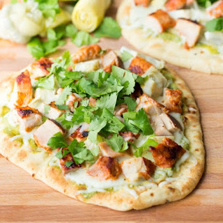 Tandoori Chicken Pizza with a Cilantro-Mint Chutney