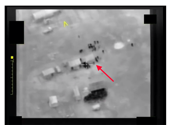 Forpost surveillance footage (uploaded to a pro-Syrian regime YouTube account) shows what appears to be a child during a strike on a temporary civilian encampment near Manbij, Syria in January 2017