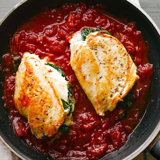 Mozzarella Spinach Stuffed Chicken Breasts.