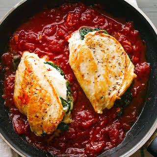 Mozzarella Spinach Stuffed Chicken Breasts.