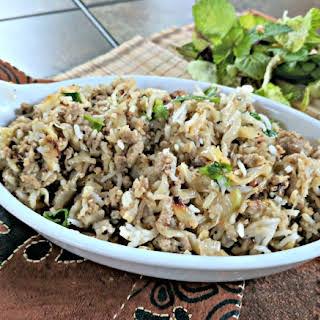 Cauliflower Rice Pilaf with Ground Beef & Cabbage.