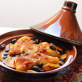 Fish and Potato Tagine with Preserved Lemon.