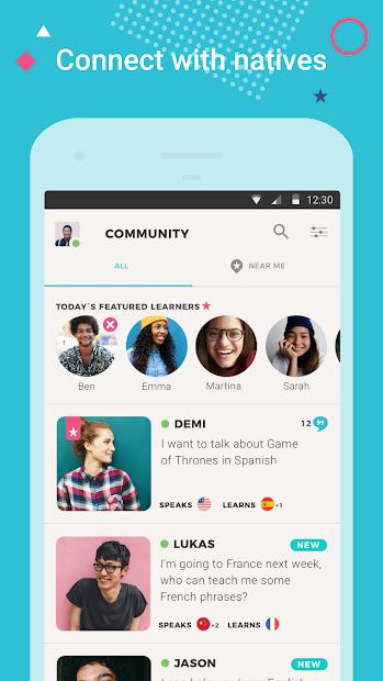 Tandem Language Exchange: Speak & learn languages Android App Screenshot