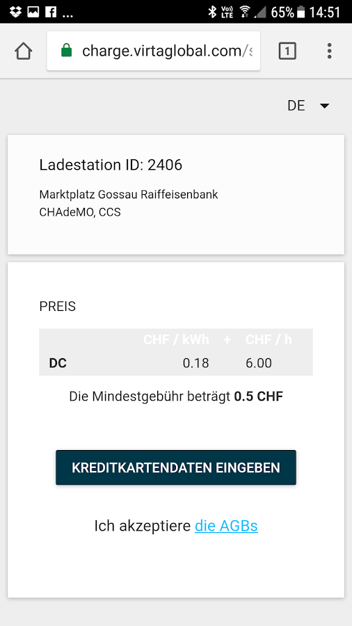 swisscharge.ch eMobility App – Screenshot