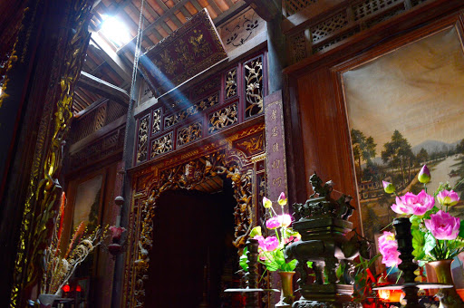 A chapel, complete with altar, in a private home built during the French reign in Vietnam.