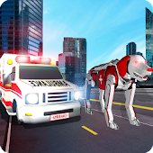 US Ambulance Transform Robot Rescue Dog Robot game