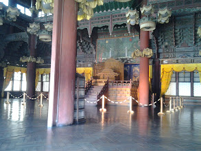 Photo: The interior of the Injeongjeon Hall.