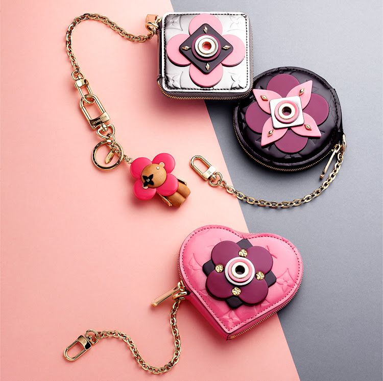 Clockwise from top: Porte-monnaie carré, R9,150; porte-clés Vivienne bag charm and key holder, R8,050; Porte-monnaie rond, R9,150; Porte-monnaie coeur, R9,150. All Louis Vuitton