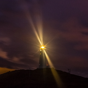 Show me the way home  by Kristvin Guðmundsson - Buildings & Architecture Public & Historical ( canon, iceland, night photography, kristvin, 60d, lighthouse, long exposure )