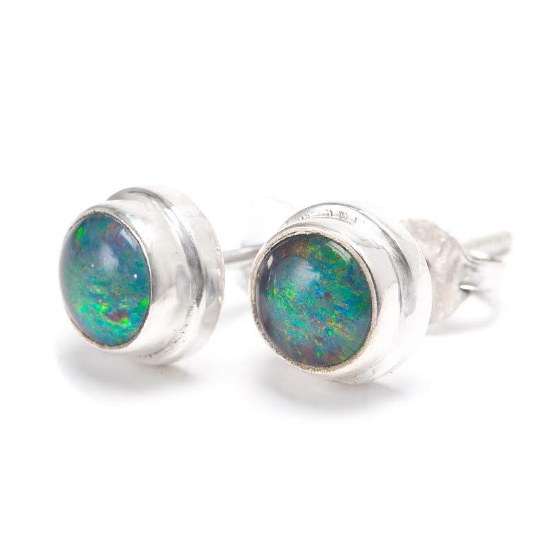 Opal, blå örhängen på stift
