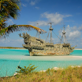 Pirates in the Caribbean by Jeff Yarbrough - Landscapes Waterscapes ( ocean, seascape, pirate ship, castaway, cay )