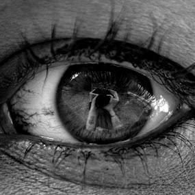 by Jade Newman - Abstract Macro ( macro, black and white, eye )