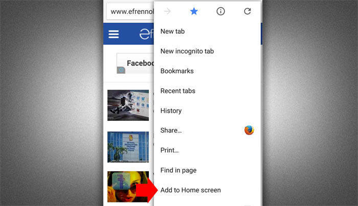 How to ad website to android home screen step 2