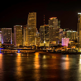 Miami Lights! by Ken Wagner - City,  Street & Park  Vistas ( skyline, nikonshooter, waterscape, miami, nightscape,  )