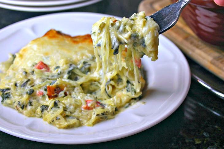 Creamy Spinach & Spaghetti Squash Bake Recipe