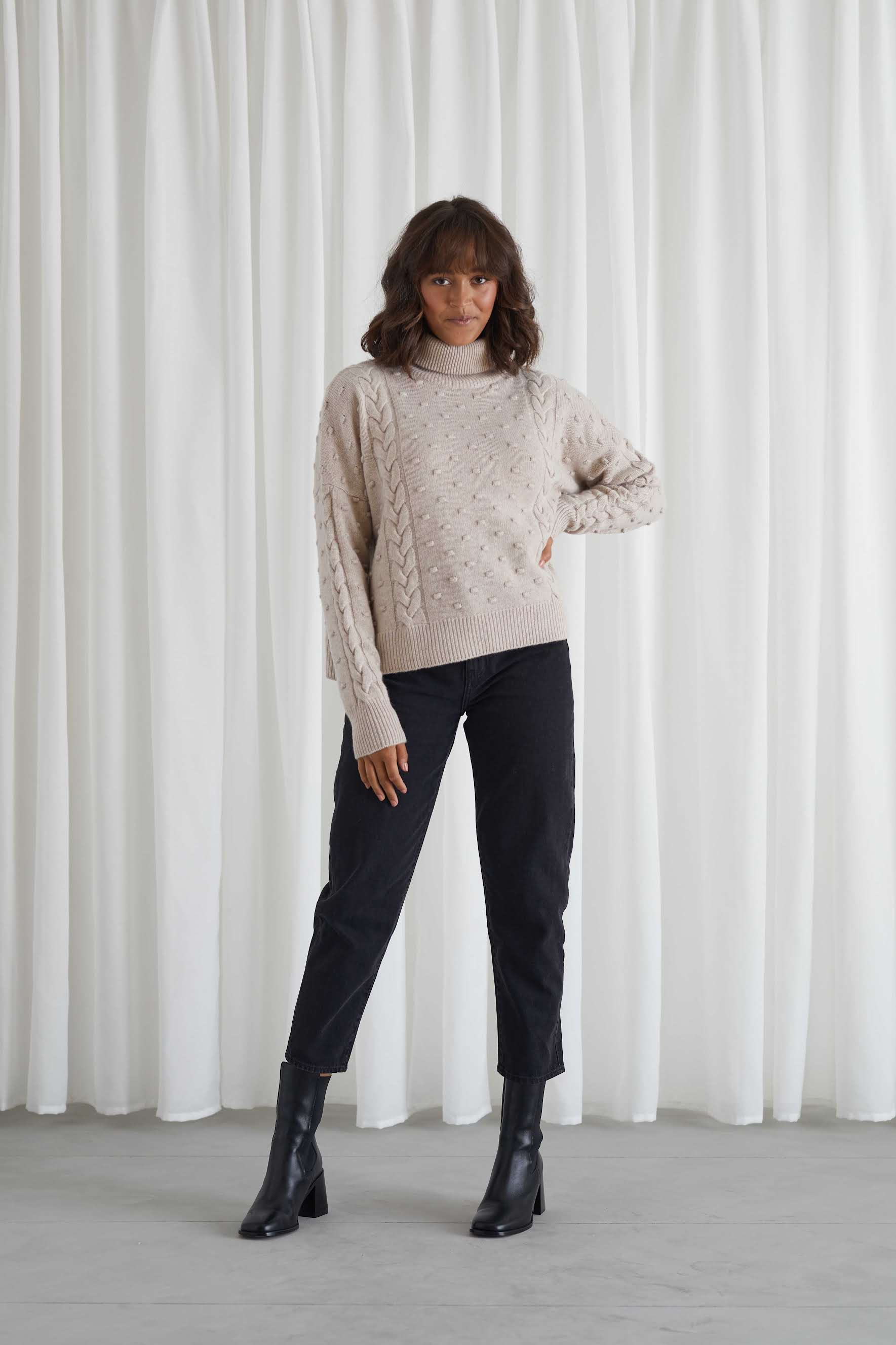 Cable Dot Polo Sweater