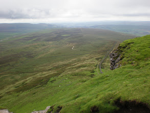 Photo: Looking backward while climbing Pen-y-Ghent