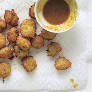 Crab Hush Puppies with Curried Honey-Mustard Sauce.