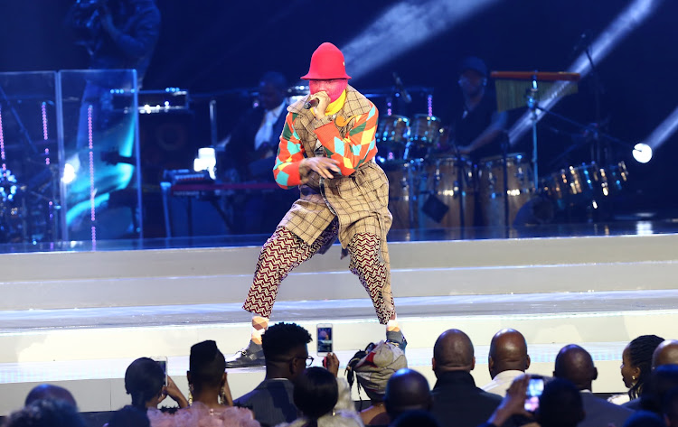 Riky Rick performs at the 24th South African Music Awards in an outfit by CHULAAP.