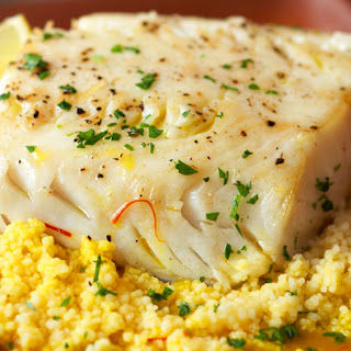 Olive Oil Poached Alaska Black Cod with Couscous and Saffron Broth