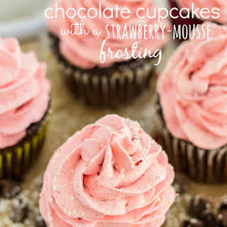 Strawberry Mousse Frosted Chocolate Cupcakes.