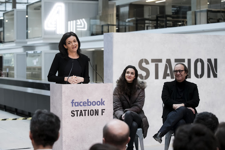 Sheryl Sandberg, Facebook Ceo Gives A press Conference In Paris