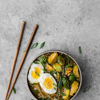 Vegetarian Ramen Bowl with Spicy Brussels Sprouts.