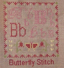 "Photo: Completed 20 January 2009. Sampler Book ""B"" (2006) by Erica Michaels stitched on Amber 32ct linen. The stitching was done in Needle Necessities silks. Stitch count: 53w x 60h."