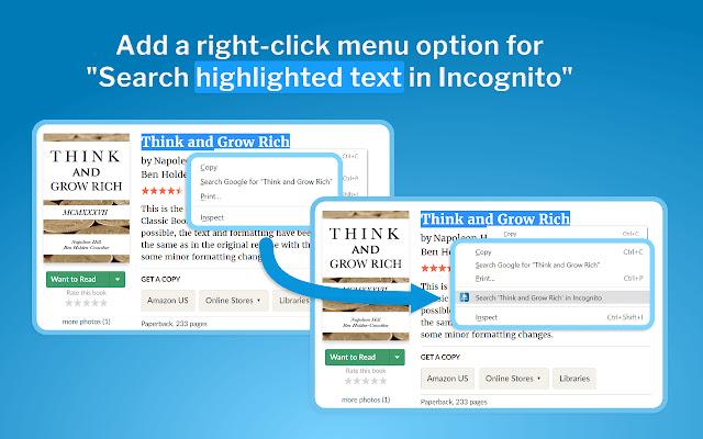 Right Click Search Incognito