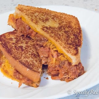 Pulled Pork Grilled Cheese Sandwich.