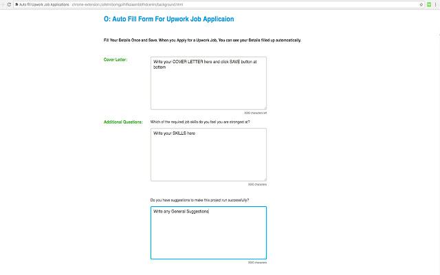 Auto fill Upwork Job Applications Chrome Web Store