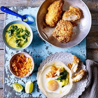 Sri Lankan fried chicken & hoppers