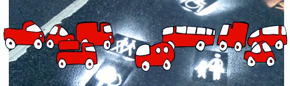 Grafik: Autos auf Straße mit Fußgänger und Rollstuhlfahrer-Symbolen.
