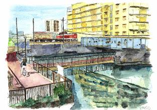 Photo: 7-T3仙台堀川と貨物線。一日一往復貨物列車が通ります。 qpoqp  加納さんの絵はがきはこちらからご購入頂けます。 http://artgoods.creativesmile.info/products/list.php?category_id=49