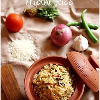 Methi Rice / Fenugreek Greens Rice Recipe