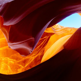 Sunquest by Craig Bill - Nature Up Close Rock & Stone ( canyon, panorama, cave, slot canyon, sun flare, blaze, antelope, pano, sun burst, panoramic, sun )