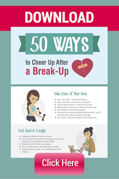 The best way to get over a breakup includes these 50 ways to cheer up after a breakup